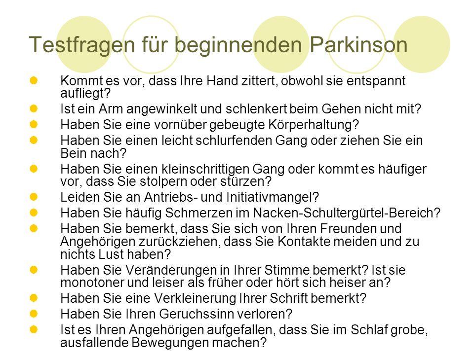 Testfragen für beginnenden Parkinson