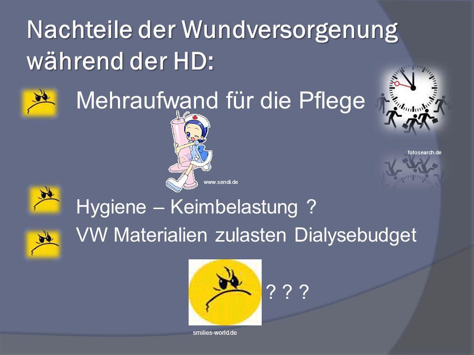 Nachteile der Wundversorgenung während der HD: