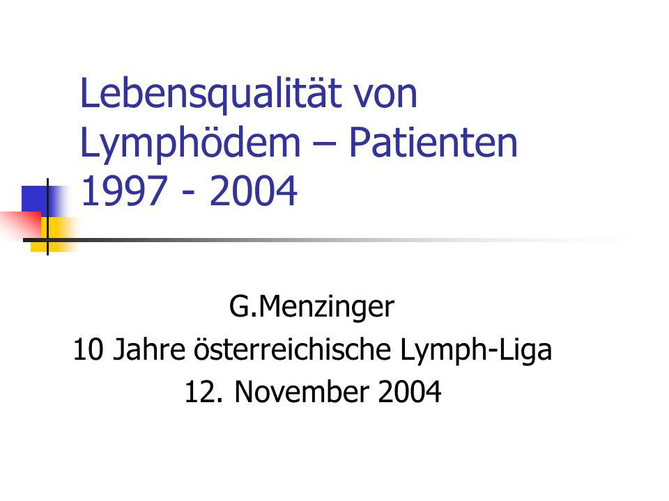 Lebensqualität von Lymphödem – Patienten 1997 - 2004