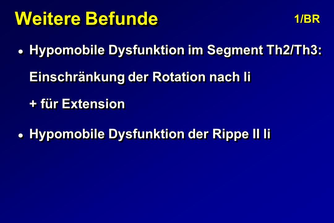 Weitere Befunde 1/BR. Hypomobile Dysfunktion im Segment Th2/Th3: Einschränkung der Rotation nach li + für Extension.