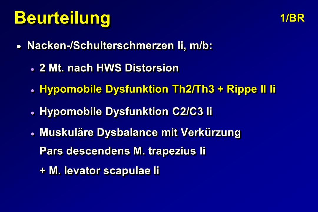 Beurteilung 1/BR Nacken-/Schulterschmerzen li, m/b: