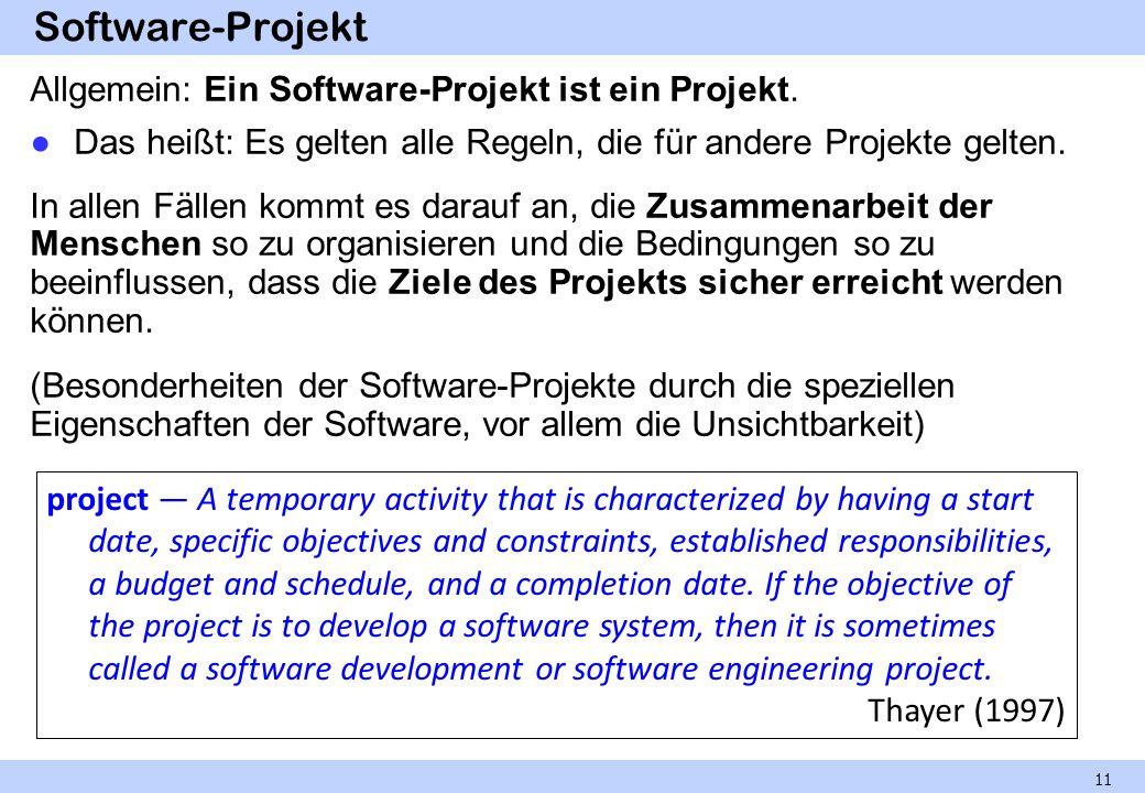 Software-Projekt Allgemein: Ein Software-Projekt ist ein Projekt.