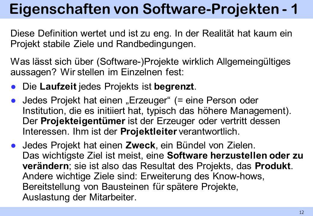 Eigenschaften von Software-Projekten - 1
