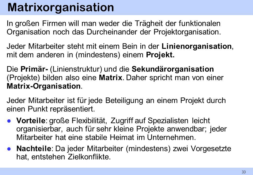 Matrixorganisation In großen Firmen will man weder die Trägheit der funktionalen Organisation noch das Durcheinander der Projektorganisation.