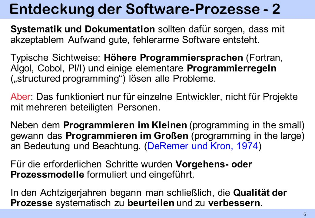 Entdeckung der Software-Prozesse - 2