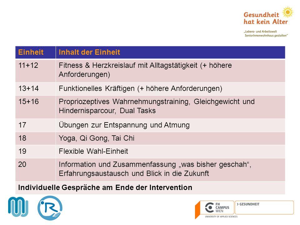 Einheit Inhalt der Einheit. 11+12. Fitness & Herzkreislauf mit Alltagstätigkeit (+ höhere Anforderungen)