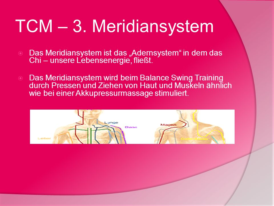 """TCM – 3. MeridiansystemDas Meridiansystem ist das """"Adernsystem in dem das Chi – unsere Lebensenergie, fließt."""