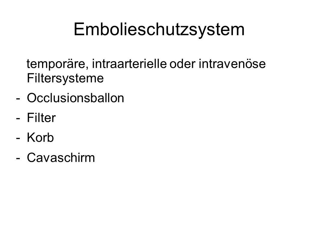 Embolieschutzsystem temporäre, intraarterielle oder intravenöse Filtersysteme. Occlusionsballon. Filter.