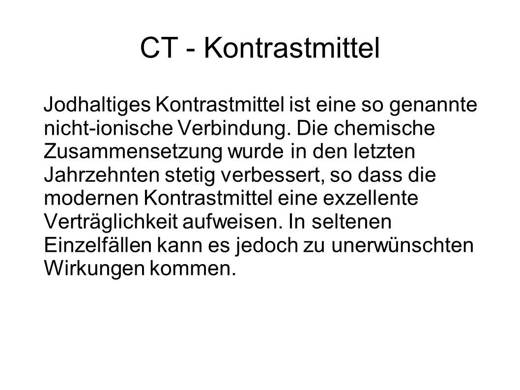 CT - Kontrastmittel
