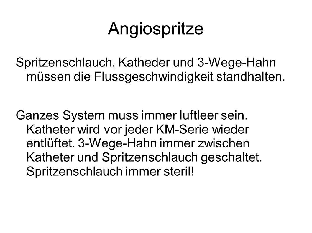 Angiospritze Spritzenschlauch, Katheder und 3-Wege-Hahn müssen die Flussgeschwindigkeit standhalten.