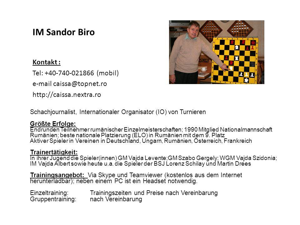 IM Sandor Biro Kontakt : Tel: +40-740-021866 (mobil)
