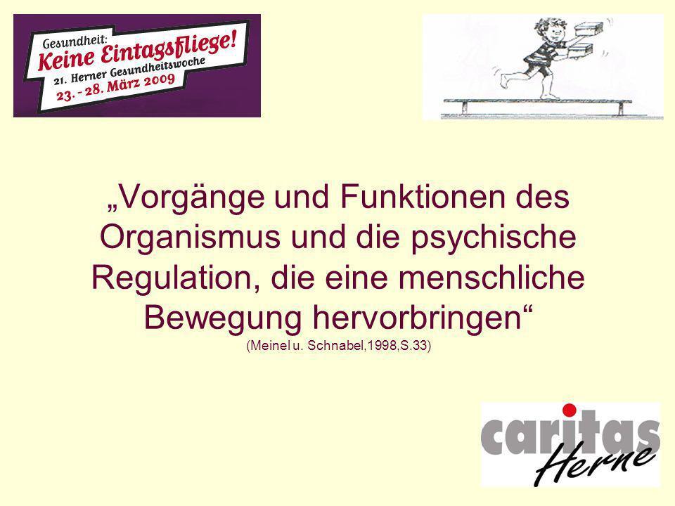 """""""Vorgänge und Funktionen des Organismus und die psychische Regulation, die eine menschliche Bewegung hervorbringen (Meinel u."""