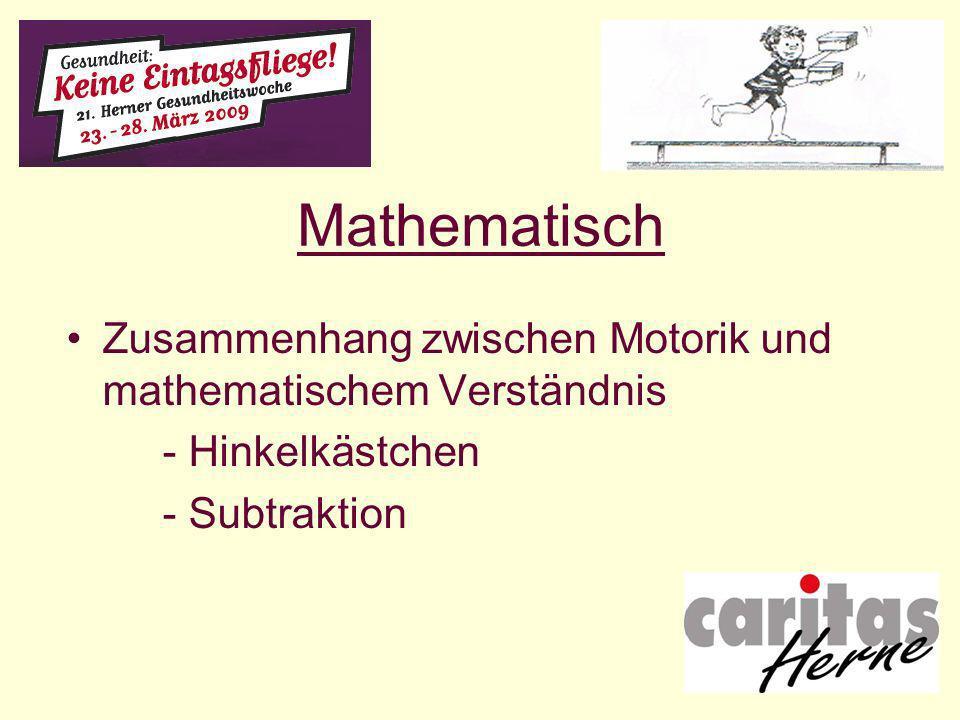 Mathematisch Zusammenhang zwischen Motorik und mathematischem Verständnis.