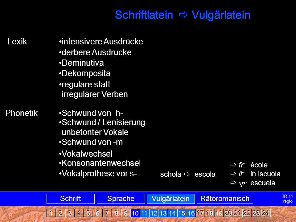 Vulgärlatein1 Schriftlatein  Vulgärlatein Lexik intensivere Ausdrücke