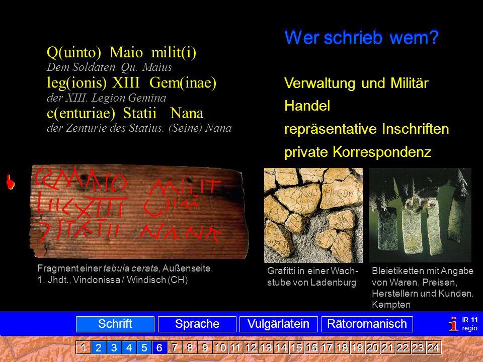Verbreitung i Wer schrieb wem  Q(uinto) Maio milit(i)