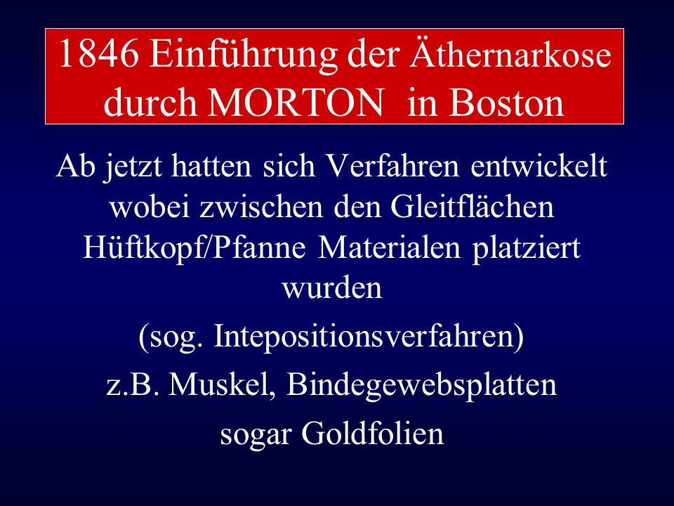 1846 Einführung der Äthernarkose durch MORTON in Boston