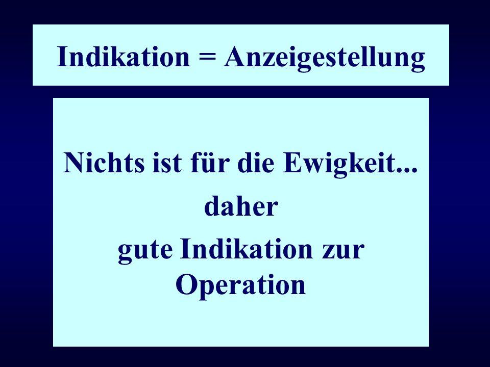 Indikation = Anzeigestellung