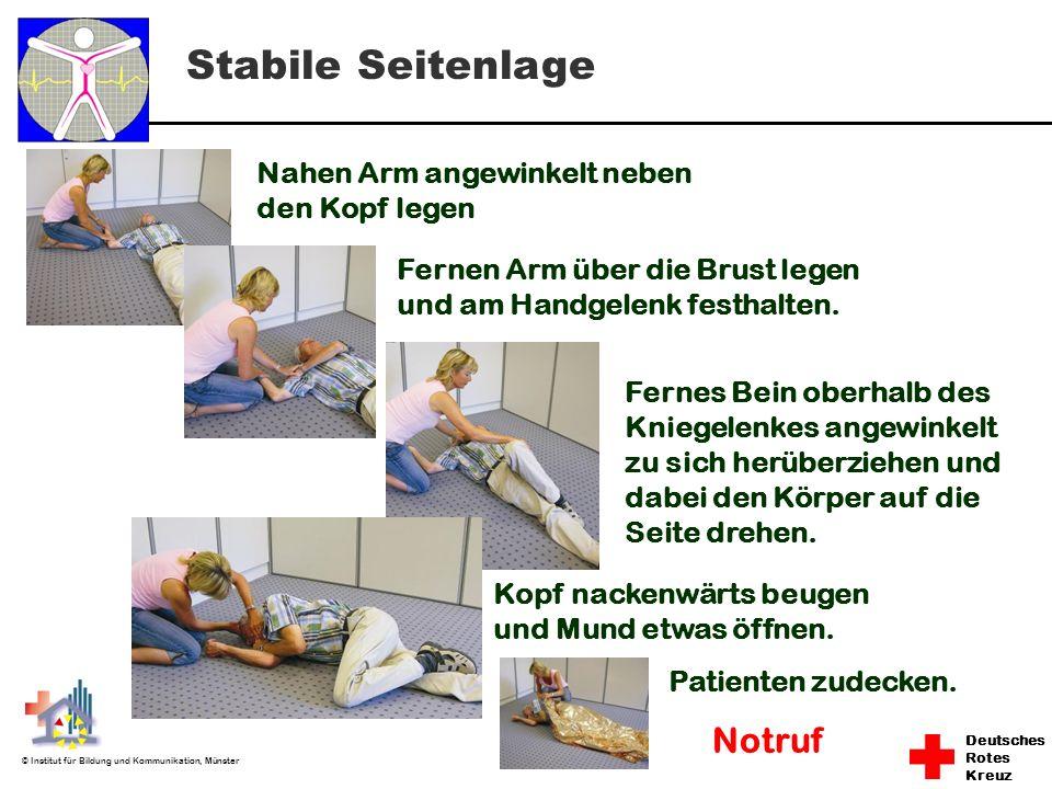 Stabile Seitenlage Notruf Nahen Arm angewinkelt neben den Kopf legen