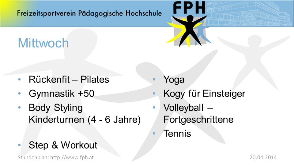 Mittwoch Rückenfit – Pilates Gymnastik +50