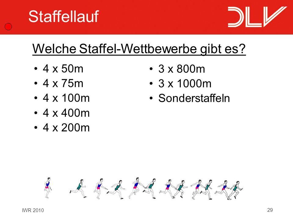 Staffellauf Welche Staffel-Wettbewerbe gibt es 4 x 50m 4 x 75m