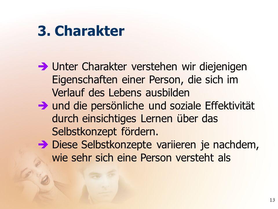 3. Charakter Unter Charakter verstehen wir diejenigen Eigenschaften einer Person, die sich im Verlauf des Lebens ausbilden.