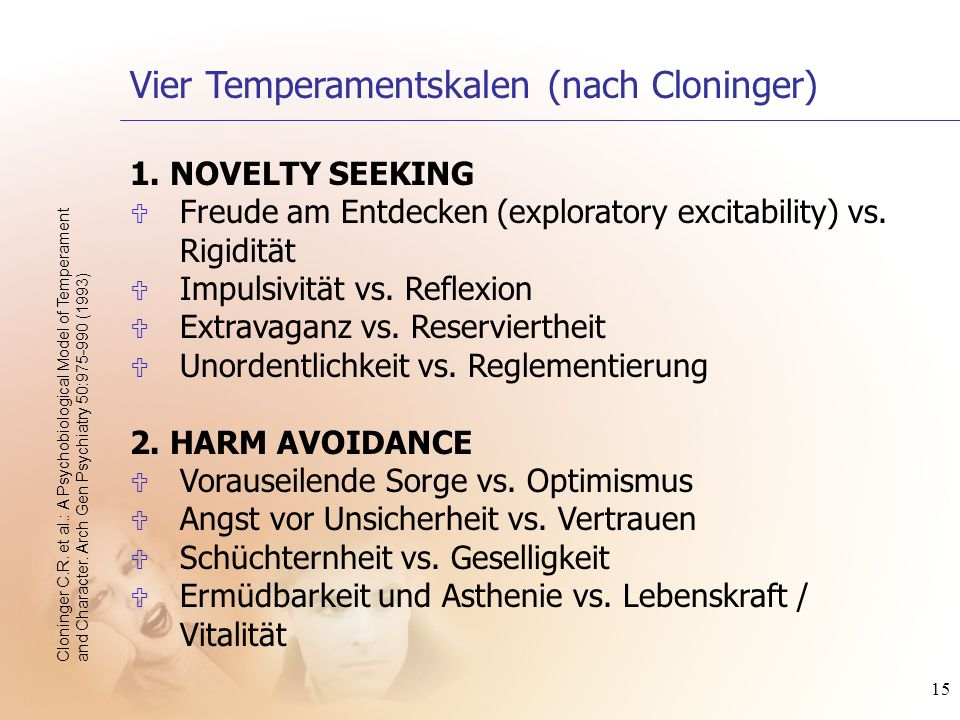 Vier Temperamentskalen (nach Cloninger)