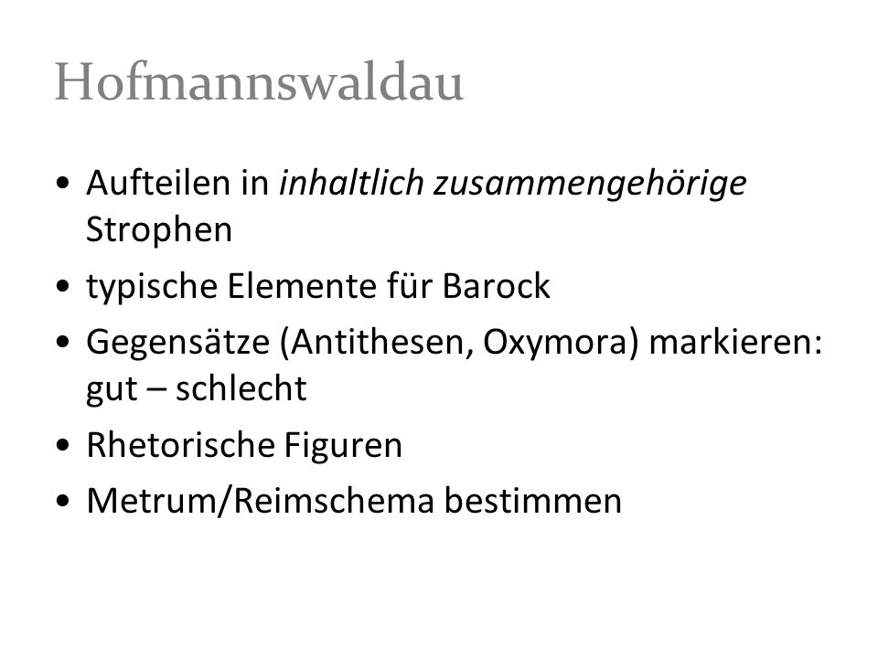 Hofmannswaldau Aufteilen in inhaltlich zusammengehörige Strophen