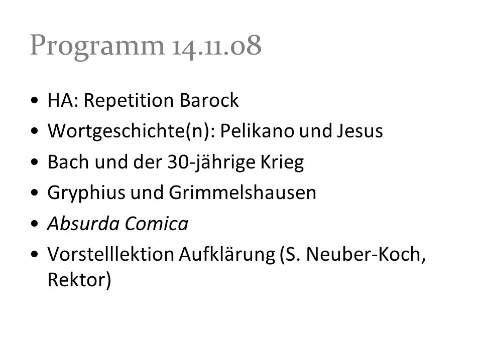Programm HA: Repetition Barock