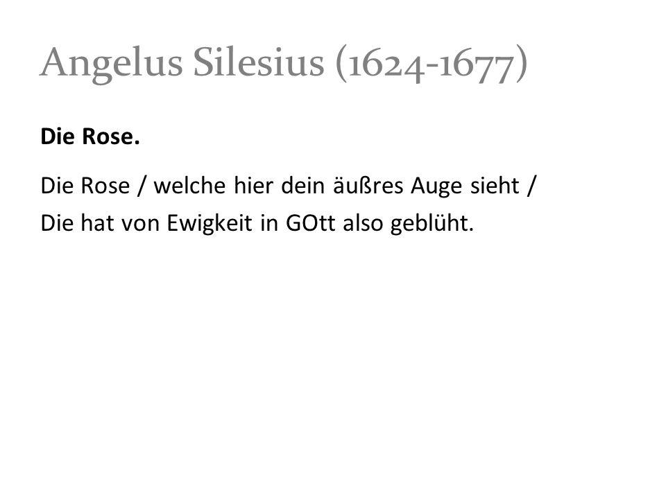 Angelus Silesius (1624-1677) Die Rose.