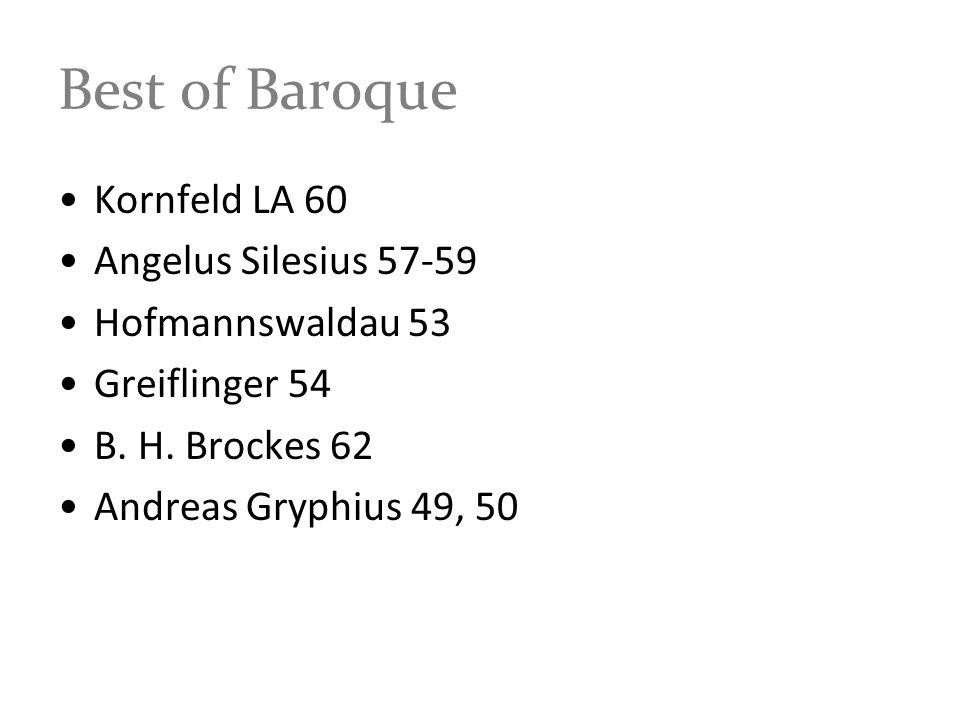 Best of Baroque Kornfeld LA 60 Angelus Silesius 57-59