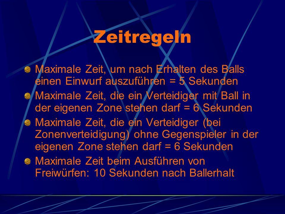 Zeitregeln Maximale Zeit, um nach Erhalten des Balls einen Einwurf auszuführen = 5 Sekunden.