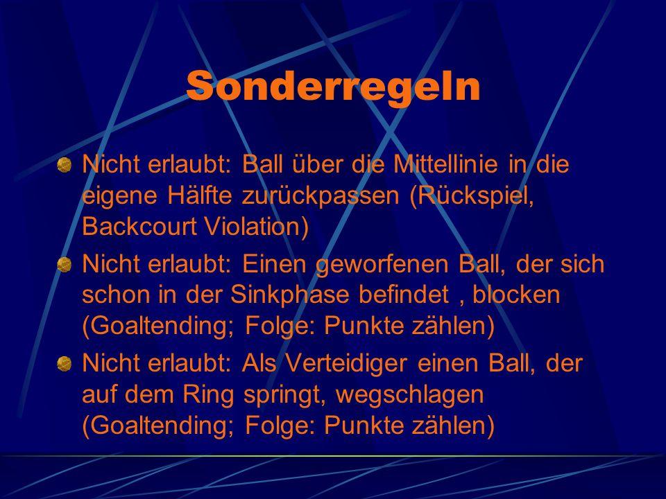 Sonderregeln Nicht erlaubt: Ball über die Mittellinie in die eigene Hälfte zurückpassen (Rückspiel, Backcourt Violation)