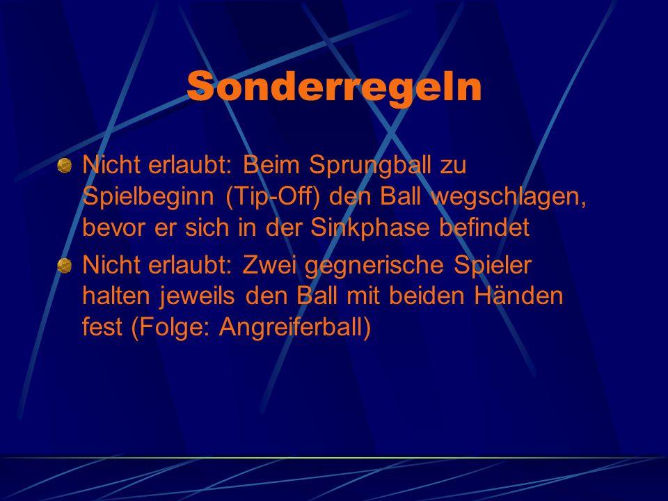 Sonderregeln Nicht erlaubt: Beim Sprungball zu Spielbeginn (Tip-Off) den Ball wegschlagen, bevor er sich in der Sinkphase befindet.