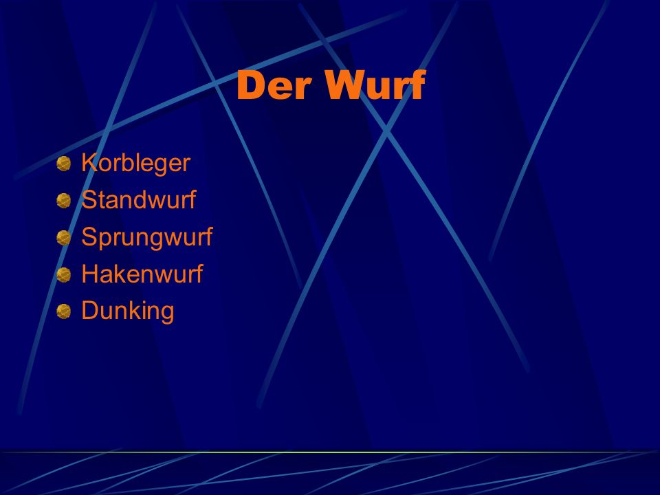 Der Wurf Korbleger Standwurf Sprungwurf Hakenwurf Dunking