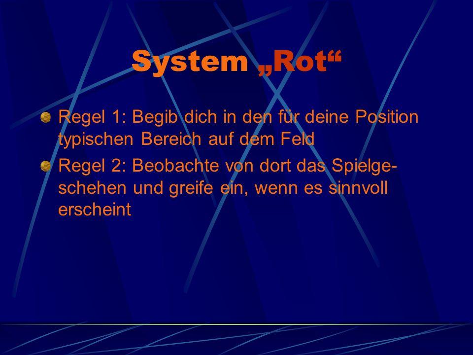 """System """"Rot Regel 1: Begib dich in den für deine Position typischen Bereich auf dem Feld."""