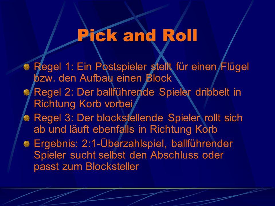 Pick and Roll Regel 1: Ein Postspieler stellt für einen Flügel bzw. den Aufbau einen Block.
