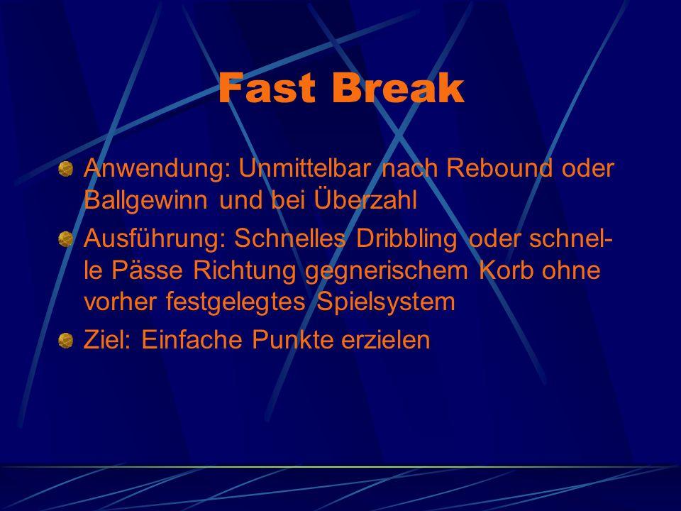 Fast Break Anwendung: Unmittelbar nach Rebound oder Ballgewinn und bei Überzahl.