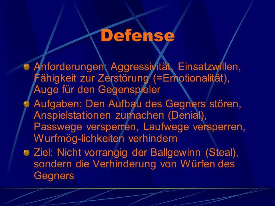 Defense Anforderungen: Aggressivität, Einsatzwillen, Fähigkeit zur Zerstörung (=Emotionalität), Auge für den Gegenspieler.