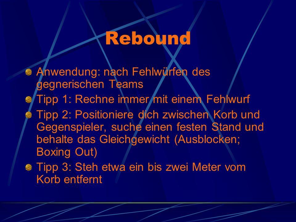 Rebound Anwendung: nach Fehlwürfen des gegnerischen Teams