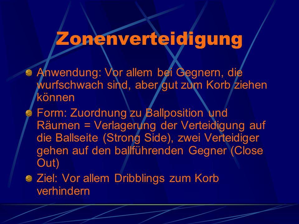 Zonenverteidigung Anwendung: Vor allem bei Gegnern, die wurfschwach sind, aber gut zum Korb ziehen können.