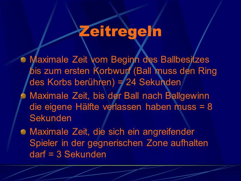 Zeitregeln Maximale Zeit vom Beginn des Ballbesitzes bis zum ersten Korbwurf (Ball muss den Ring des Korbs berühren) = 24 Sekunden.