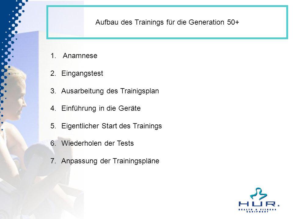 Aufbau des Trainings für die Generation 50+
