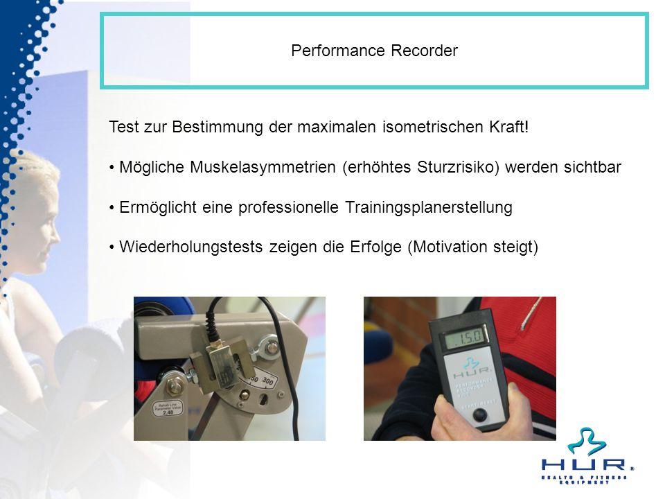 Performance Recorder Test zur Bestimmung der maximalen isometrischen Kraft! Mögliche Muskelasymmetrien (erhöhtes Sturzrisiko) werden sichtbar.