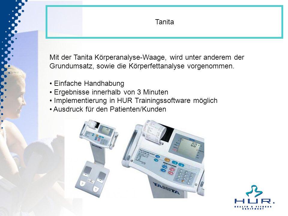Tanita Mit der Tanita Körperanalyse-Waage, wird unter anderem der Grundumsatz, sowie die Körperfettanalyse vorgenommen.