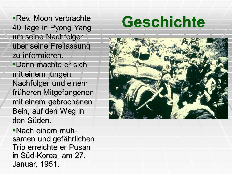 Geschichte Rev. Moon verbrachte 40 Tage in Pyong Yang um seine Nachfolger über seine Freilassung zu informieren.