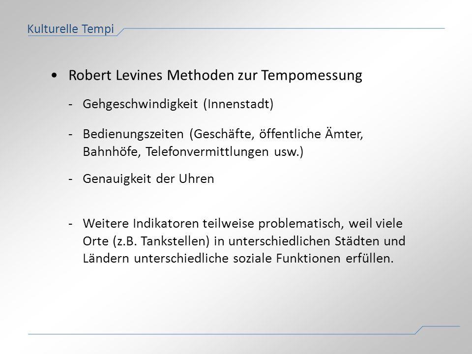 • Robert Levines Methoden zur Tempomessung