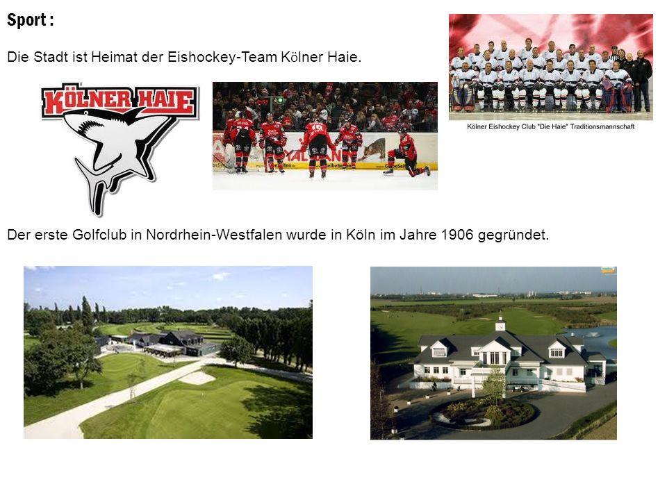 Sport : Die Stadt ist Heimat der Eishockey-Team Kölner Haie.