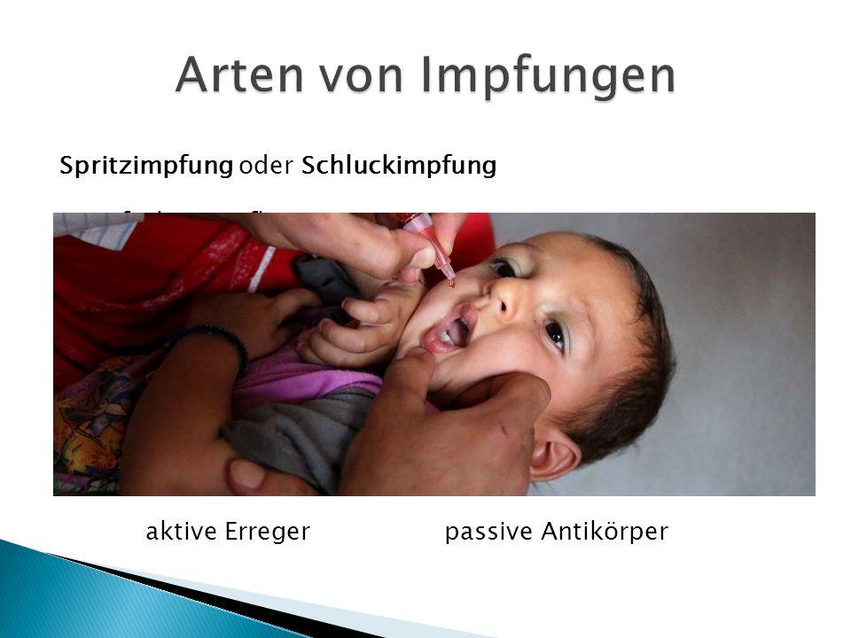 Arten von Impfungen Spritzimpfung oder Schluckimpfung