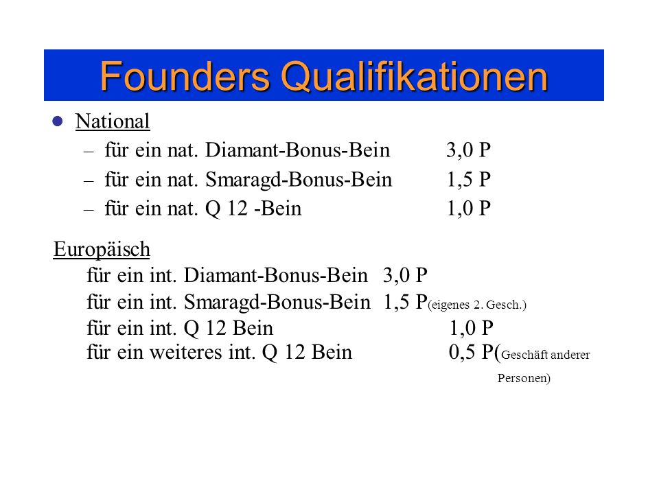 Founders Qualifikationen
