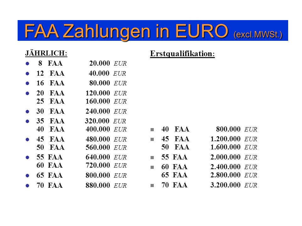 FAA Zahlungen in EURO (excl.MWSt.)